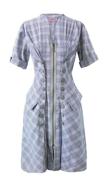 【CHIC】CHECKS ZIPPED UP SHORT SLEEVES PRINCESS DRESS【WDS 1755】C++