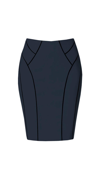 【CHIC】NAVY GEOMETRIC LINES PENCIL SKIRT【WSK 1741】C++