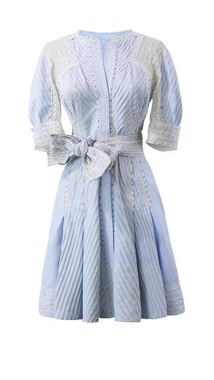 【CHIC】SKY BLUE STRIPED WITH LACE SHIRT DRESS【WDS 1756】C++