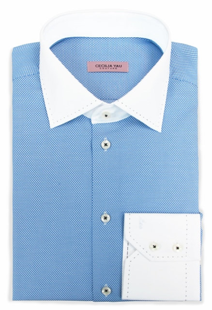 Blue color with contrast white hand  stitches Collar & Cuff