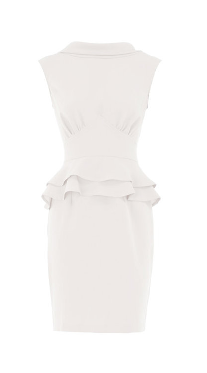 【CHIC】SNOWY WHITE PEPLUM SHEATH DRESS【WDS 1734】C++