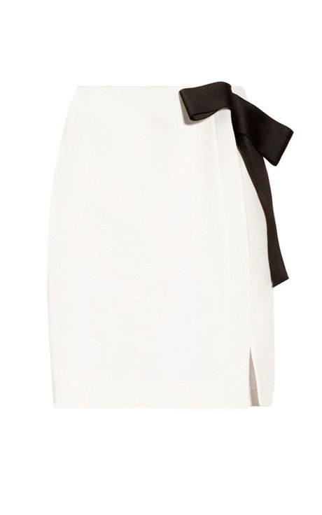 【CHIC】SNOWY WHITE WRAP SKIRT WITH BLACK RIBBON【WSK 1735】C+