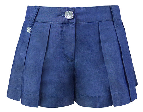 BLUE DENIM PLEATED SHORTS 【CM1328-14】