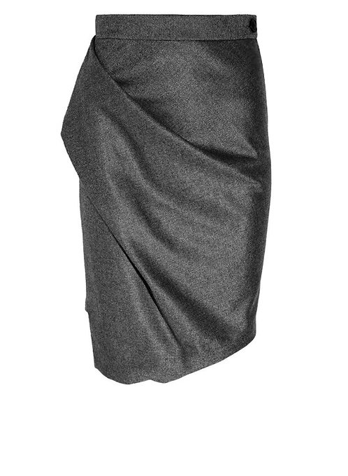 【CHIC】GREY DRAPING PENCIL SKIRT【WSK 1756】C+++