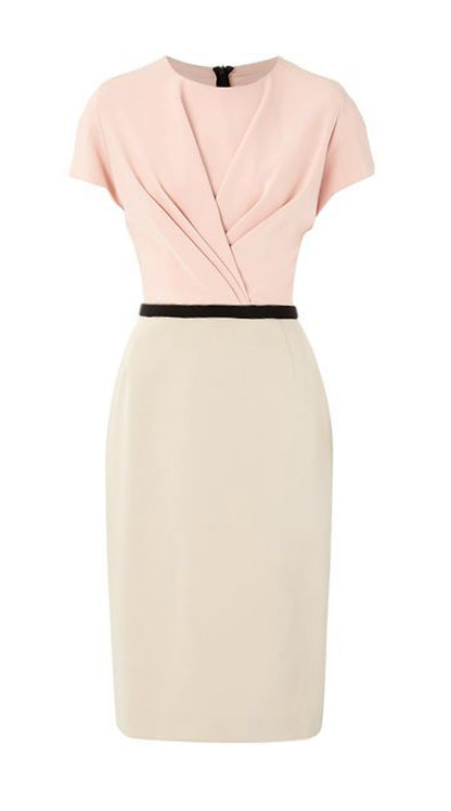 【CHIC】SERENE PINK AND BEIGE DRAPING SHEATH DRESS【WDS 1745】C+