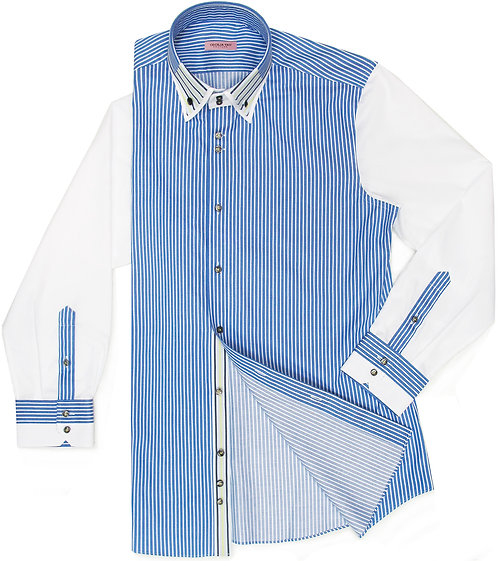 Blue Stripe Shirt with Contrast White Sleeve
