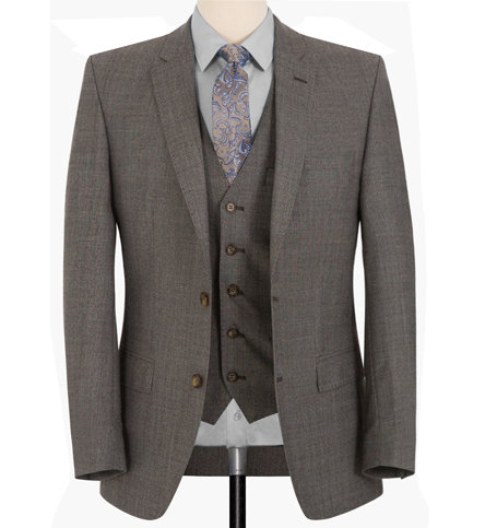 GREY THREE-PIECES -REGULAR FITTING SUIT