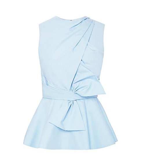 【CHIC】SERENE BLUE BOW SLEEVELESS PEPLUM BLOUSE【WSH 1717】C+++