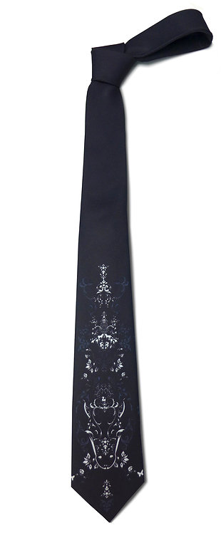 BLACK AND WHITE BAROQUE PATTERNED TIE