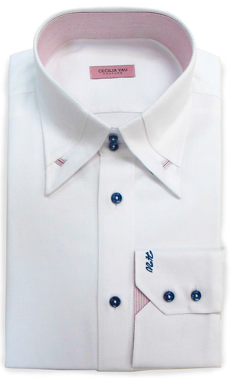 White Egyptian Cotton with Contrast Red inner Collar & Cuff