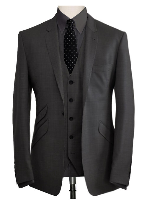CHARCOAL GREY TAILORED THREE PIECE SUIT