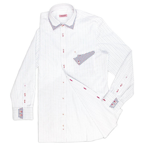 RED AND BLUE TINY STRIPES SHIRT