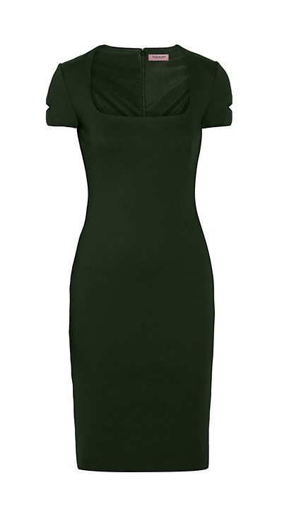 【BASIC】BLACKISH GREEN SQUARE COLLAR SHEATH DRESS【WDS 1723】S