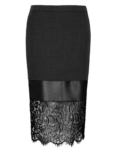 【CHIC】BLACK LAYERING FRENCH LACE MIDI SKIRT【WSK 1608】