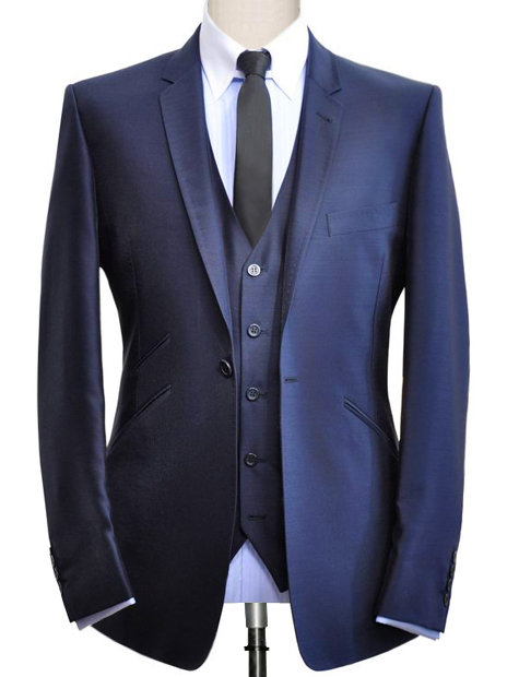 MIDNIGHT BLUE SLIM FIT THREE-PIECES SUIT