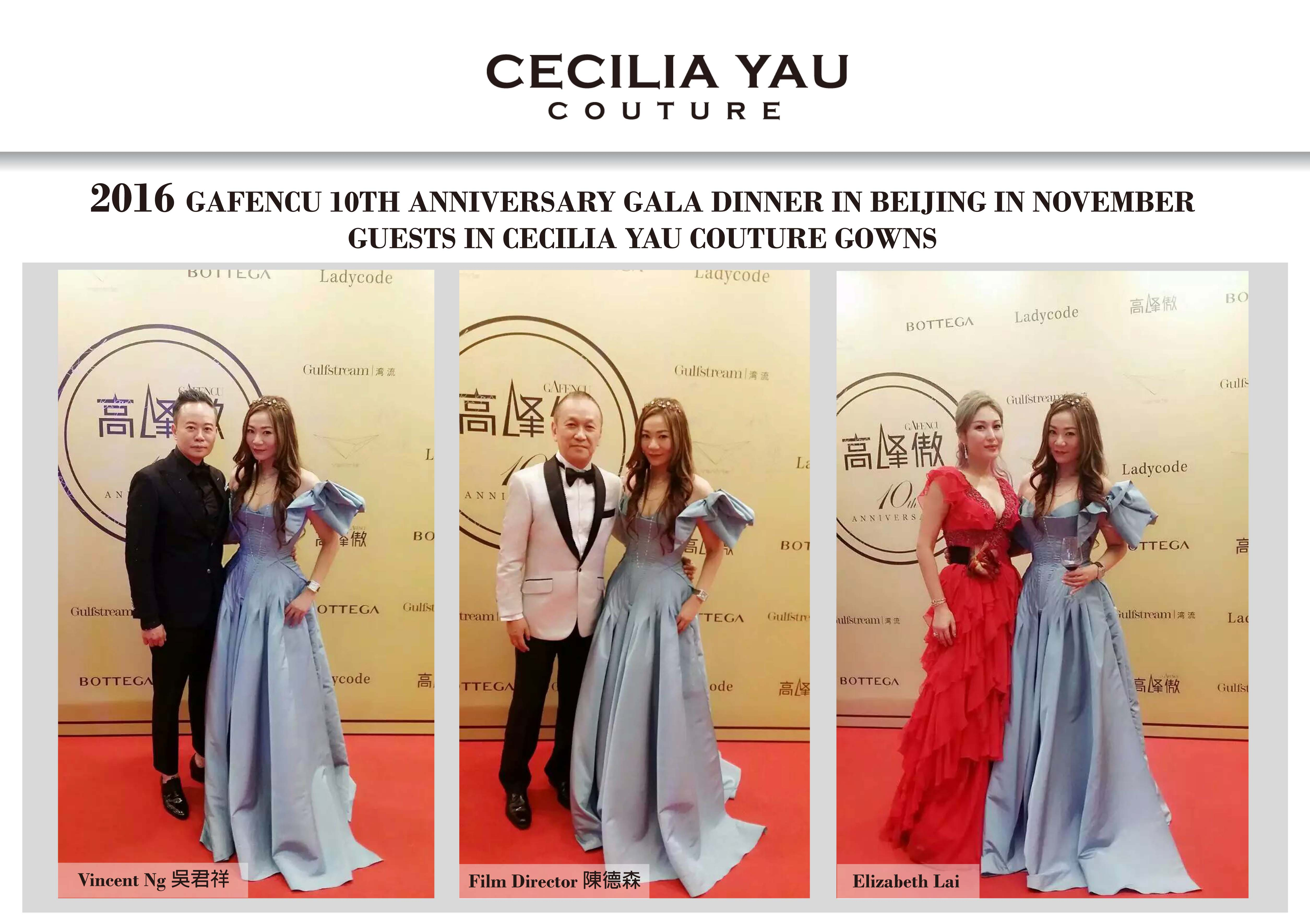 Guests in Cecilia Yau Couture Gowns