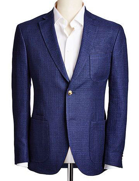 INDIGO DEMIN PEAK LAPEL TAILORED FIT BLAZER