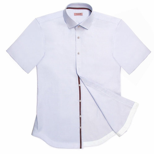 SHORT-SLEEVED CAUSAL SHIRT WITH RIBBON