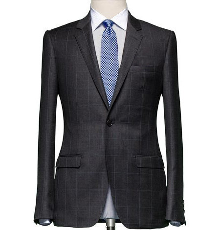 CHARCOAL GREY WINDOWPANE CHECK TAILORED SUIT