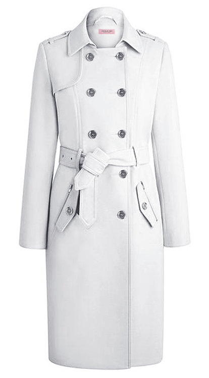 SNOWY WHITE VIRGIN WOOL TRENCH COAT【WCT 1616】
