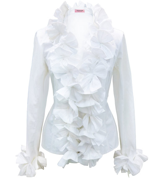 【CHIC】ORIGAMI FLORAL WHITE BLOUSE【WSH 1704】C+++