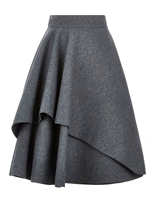 【BASIC】GREY IRREGULAR TWO-LAYERED FLARED SKIRT【WSK 1721】C+++