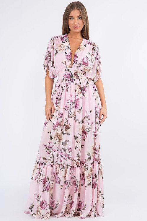 Amy Floral Dress || Pink