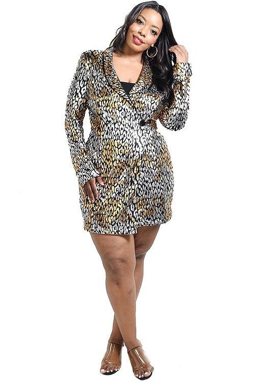Plus Phoenix Metallic Blazer Dress