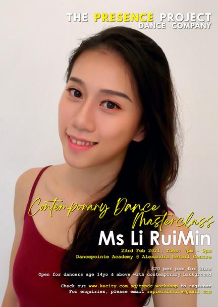 23 Feb: Contemporary Dance Masterclass by Ms Li RuiMin