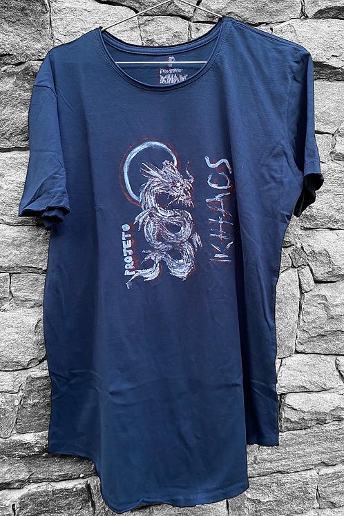 Camiseta azul dragão branco