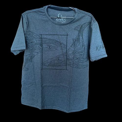 Série 1: camiseta cinza escura baleias
