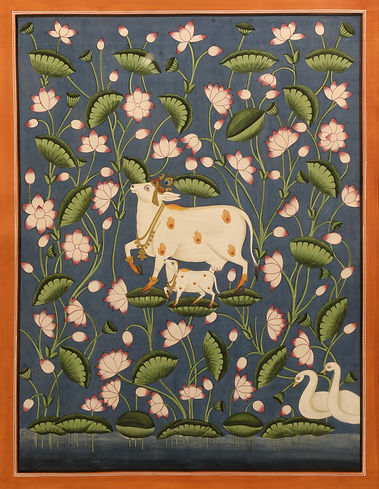 20. Cow with Lotus Backdrop 15 x 12 inch