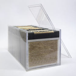 Swatch cards in display boxes