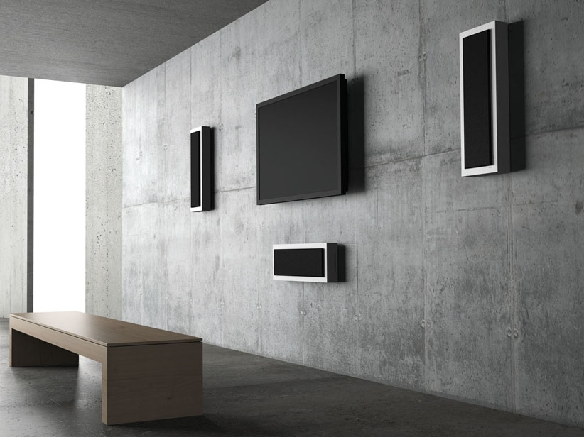 flat box speakers concrete wall tv
