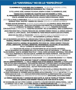 LO UNIVERSAL NO ES LO ESPECIFICO