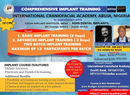 International Craniofacial Academy Commences Comprehensive Implant Training in Abuja, Nigeria.