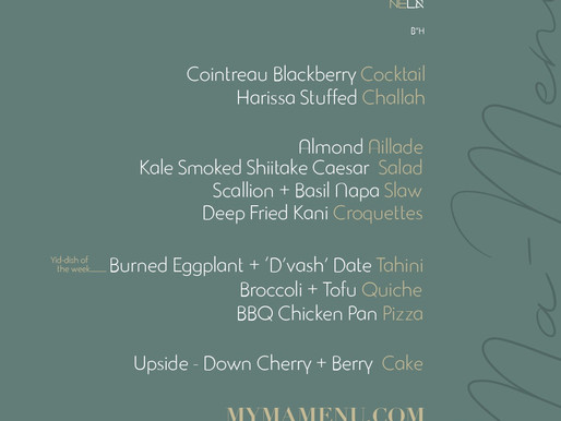Shabbat menu 8.9.2019