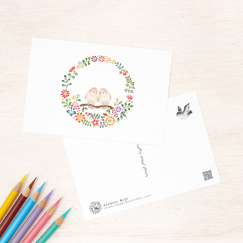"""ポストカード """"幸せな小鳥と花の輪"""" PC-112"""