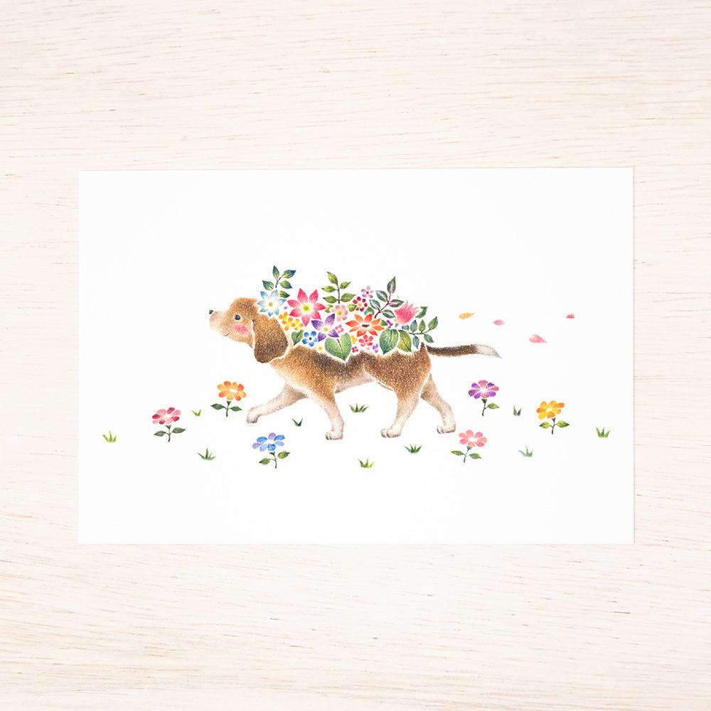 子犬たちと花の輪