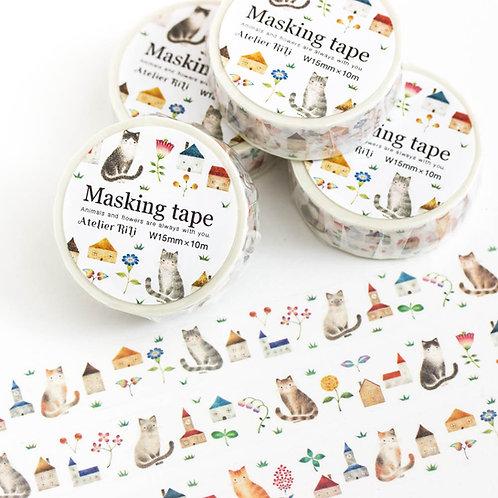"""マスキングテープ """"猫たちと色とりどりの花とお家"""" MT-4"""