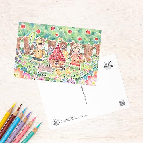 """ポストカード """"みんなの小さな赤い家"""" PC-513"""