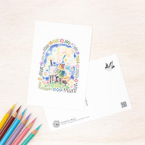 """ポストカード """"星々を描く画家"""" PC-356"""