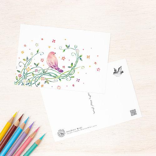 """ポストカード """"紫色の小鳥と蔦"""" PC-114"""