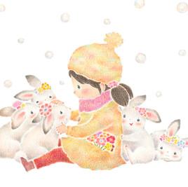 """""""雪の日のチャチャとうさぎたち""""のアトリエの写真"""