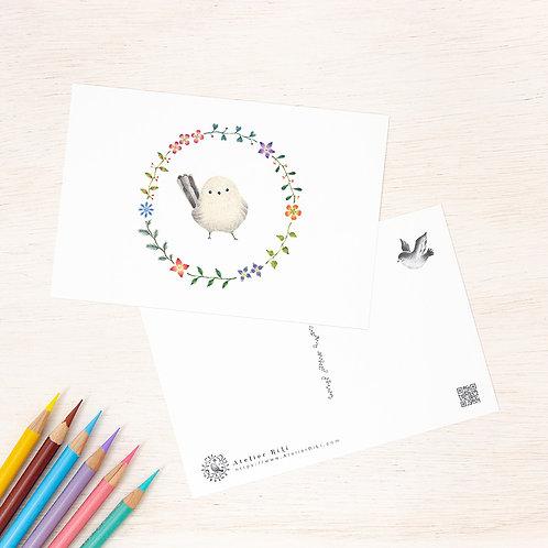 """ポストカード """"白色の小鳥と花の輪"""" PC-62"""