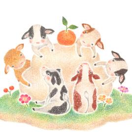 """""""楽しいお正月の小牛たち""""のアトリエ写真"""