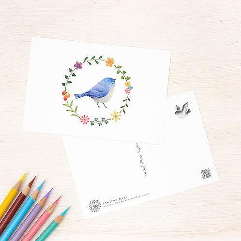 """ポストカード """"水色の小鳥と花の輪"""" PC-46"""