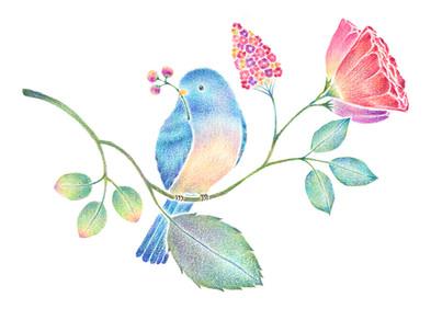 青い小鳥と草花