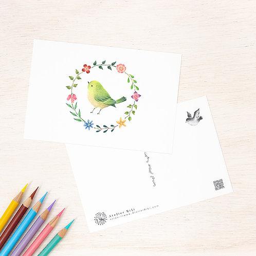 """ポストカード """"緑色の小鳥と花の輪"""" PC-43"""