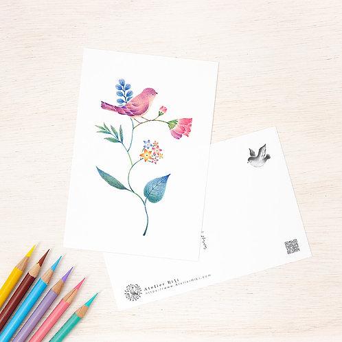 """ポストカード """"紫色の小鳥と草花"""" PC-75"""